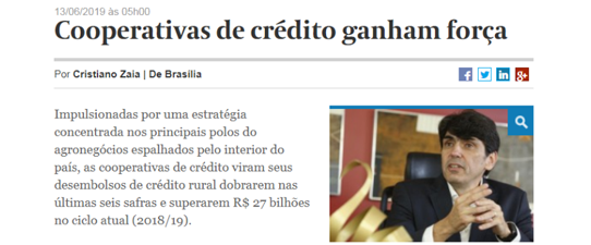 Cooperativas ampliam participação em operações com crédito rural