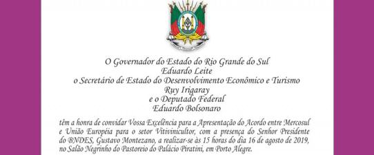 Governo do Estado apresenta Acordo entre Mercosul e União Europeia para o setor vitivinícola